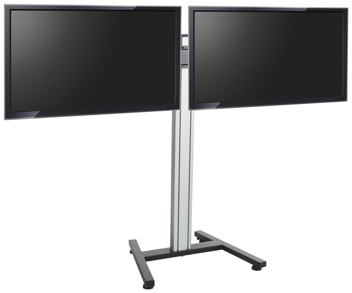 Dual Screen Floor Stand Height Adjustable Mount