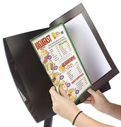 Menu Display Holds Signs Vertically Or Horizontally
