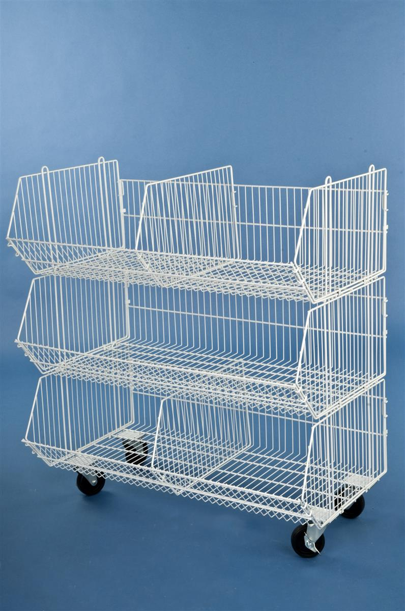 Wire Dump Bins 3 Compartment Amp Locking Wheels
