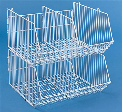 Wire Storage Basket 2 Tiered Stackable Bins W