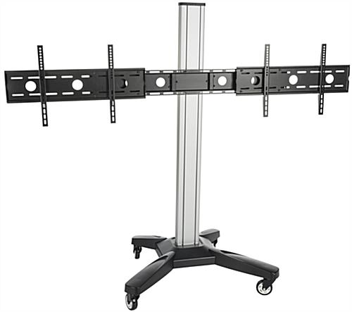 Height Adjustable Side by Side Dual TV Rack