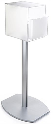 Pedestal suggestion box stand with lock and frosted container for privacy