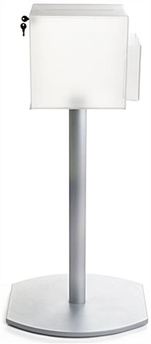 Pedestal suggestion box stand with lock and metal base