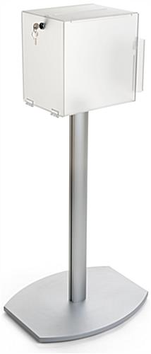 Pedestal suggestion box stand with lock and rear side door