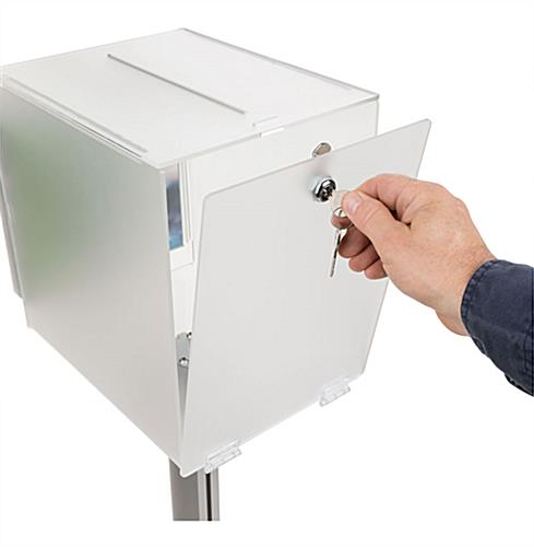Pedestal suggestion box stand with lock hinged rear door