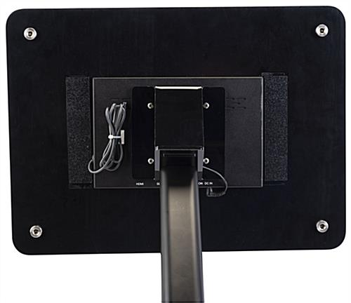 Small digital advertising stand with easily accessable USB ports