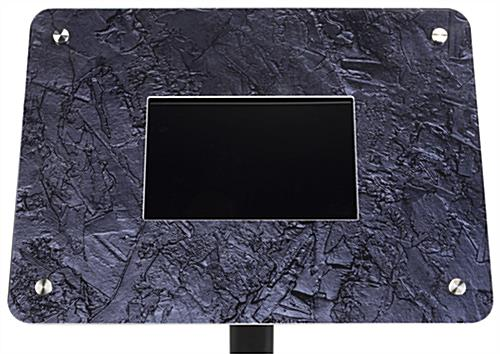 Small digital floor sign includes this granite look graphic frame
