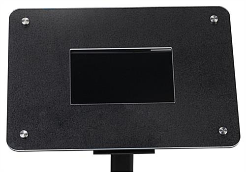Small digital advertising stand includs a black textured frame