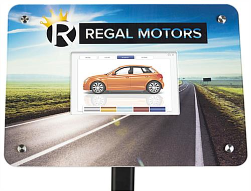 Small digital advertising stand with video, audio, and photo slideshow capabilities