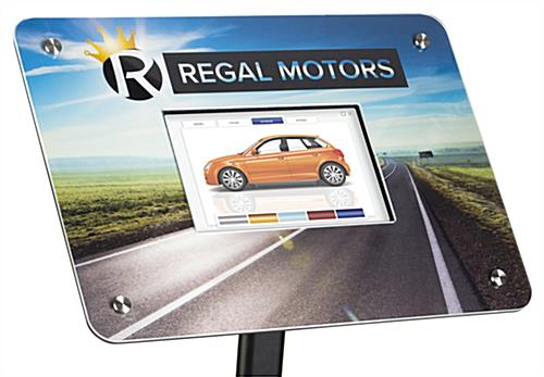 Custom frame for DPF101 digital sign stands with full color graphics