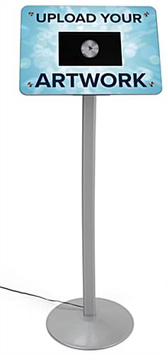small digital signage stand, with free standing silver pedestal