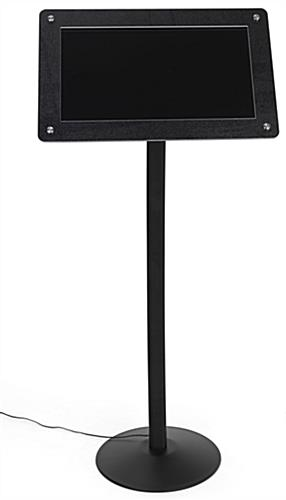 Digital floor sign pedestal with built in speaker