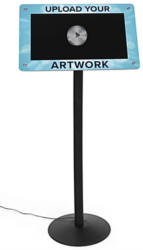 Custom frame for DPF215 digital sign stands features digitally printed graphics