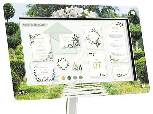 Custom frame for DPF215 digital sign stands with full color graphics