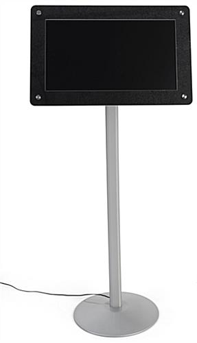 Digital poster pedestal stand supports automatic slideshow
