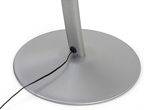 Small digital signage stand with weighted base and cord management