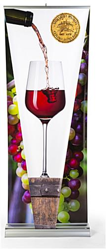 Layered 3D retractable banner stand with sturdy silver aluminum base