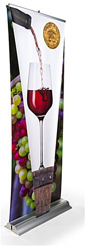 Layered 3D retractable banner stand with digitally printed dual graphics