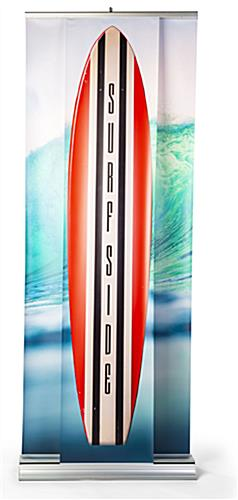 3D effect dual layer pull up banner stand with fully retract banners into metal base