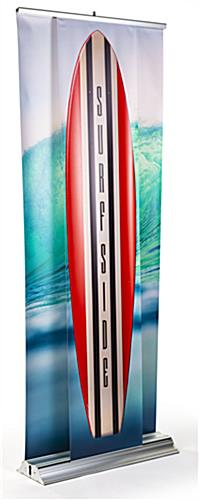 3D effect dual layer pull up banner stand features slim vertical front banner