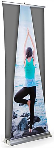 Replacement roll up dimensional pyramid banner measures 32 inches in width
