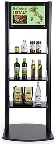 Adjustable digital sign merchandising shelves