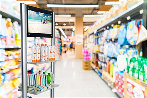 Merchandising Shelves with Digital Sign with USB Port