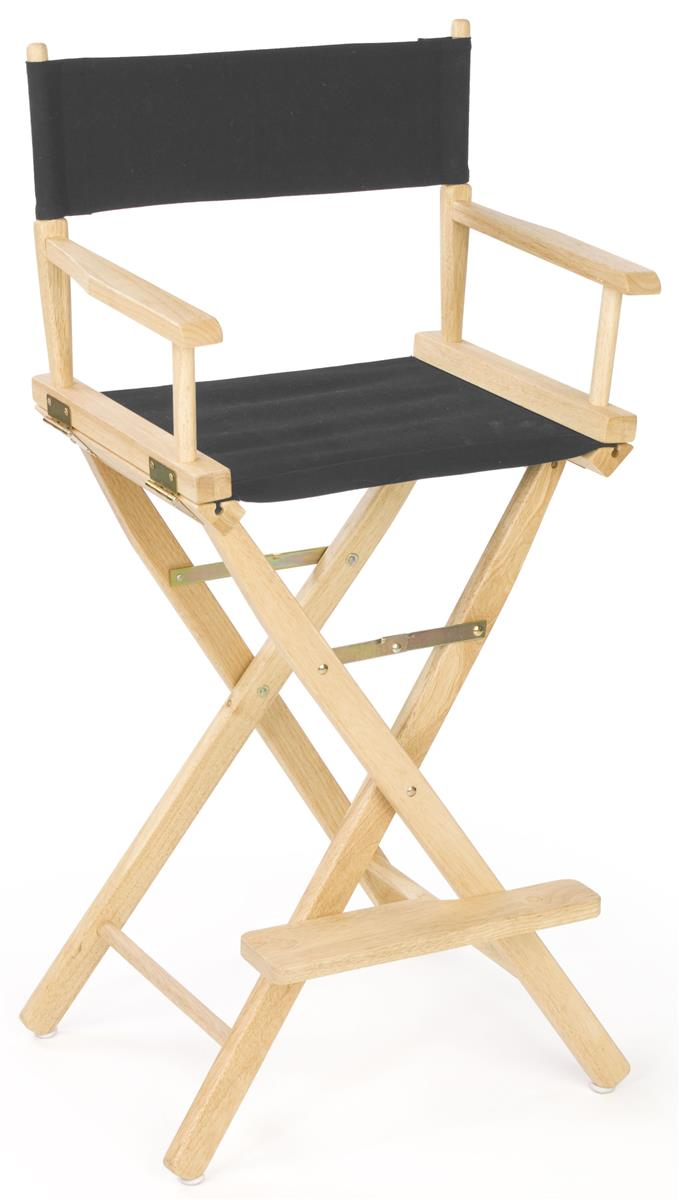 Director Chair 29 Wooden With Black Canvas Seat Foot Rest