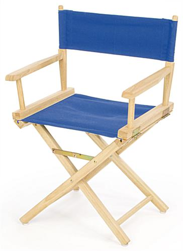 "Wooden Directors Chairs director chairs | 33"" wooden with blue canvas seat"