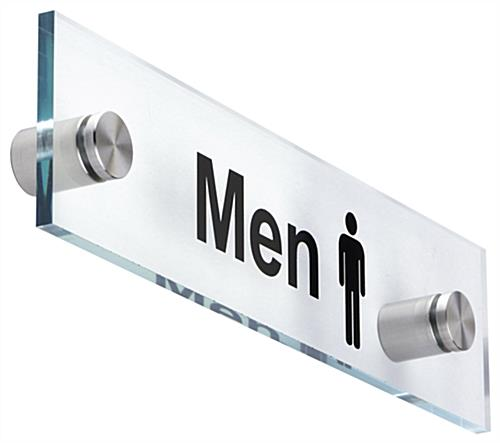 MenWomen Restroom Signs Acrylic With Steel Standoffs - Professional bathroom signs