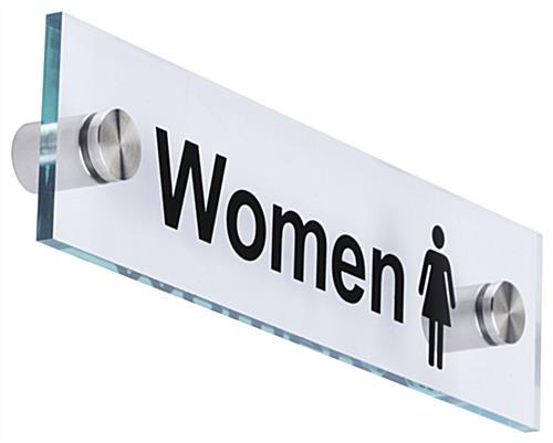 Men Women Restroom Signs Acrylic With Steel Standoffs