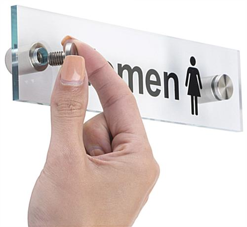 Men Women Restroom Signs Acrylic With Steel Standoffs