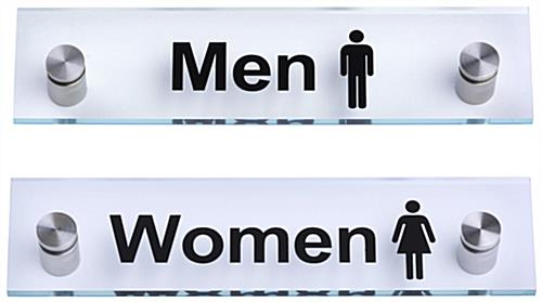 """Men"" /""Women"" Restroom Signs, Clear"