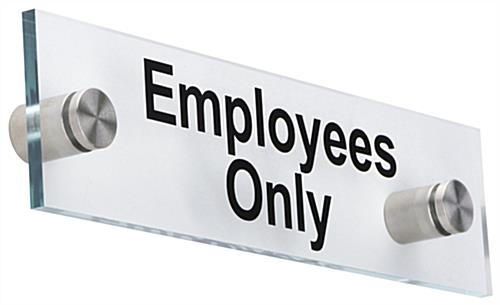 """Employees Only"" Standoff Sign, 8"" Overall Width"