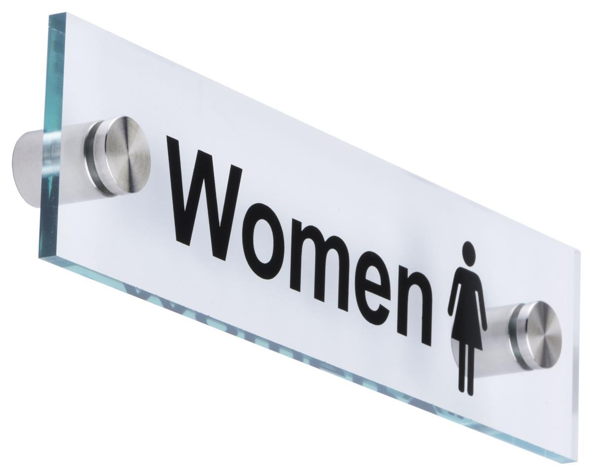 Women Bathroom Sign Clear Acrylic Panel