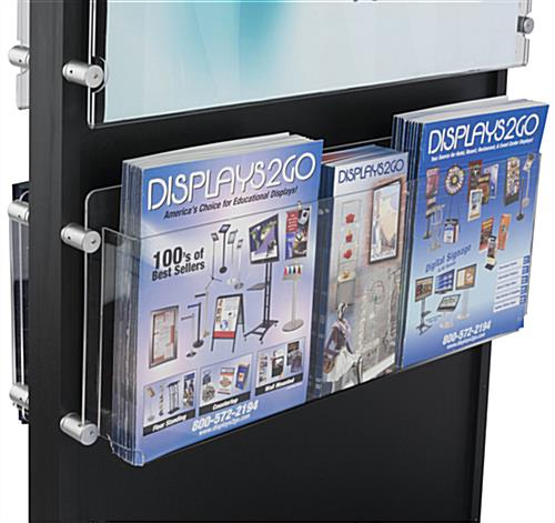 Dual 22 x 28 Black Wooden Poster Stand with 5 Pocket Brochure Holder