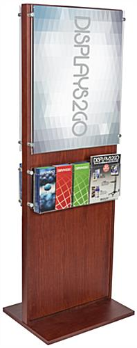 Mahogany Double-Sided Poster Pedestal With 10 Leaflet Pockets