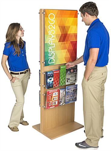 Two-Sided Wooden Poster Display With 20 Pockets for Informational Brochures