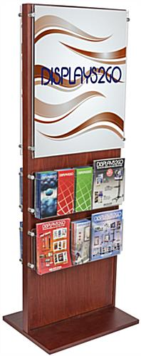 Dual-Sided Poster Stand With 20 Brochure Pockets, Floor Standing