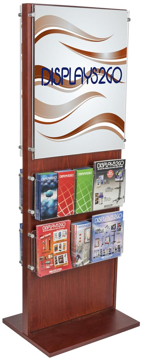 Dual Sided Poster Stand With 20 Brochure Pockets Wooden
