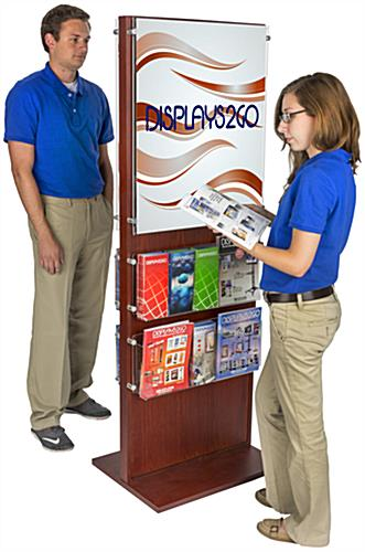 Dual-Sided Poster Stand With 20 Brochure Pockets for Airport Vestibules