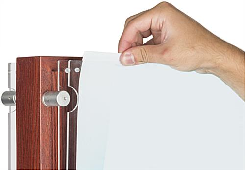 Double-Sided Mahogany Poster Holder, Magnetic Acrylic Panel
