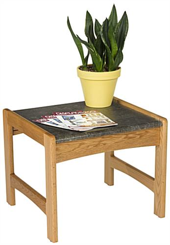 Medium Oak Office End Table with Faux Granite Top