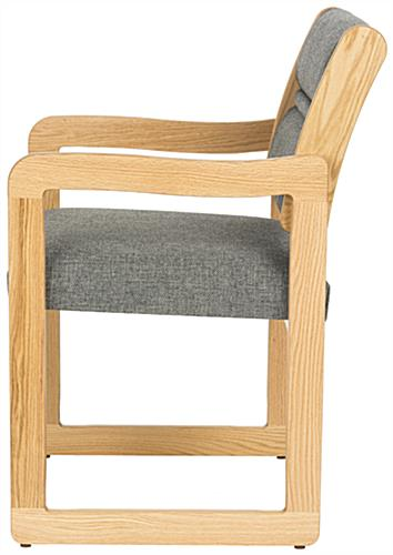 Charcoal Grey Lobby Chair, Light Oak Finish