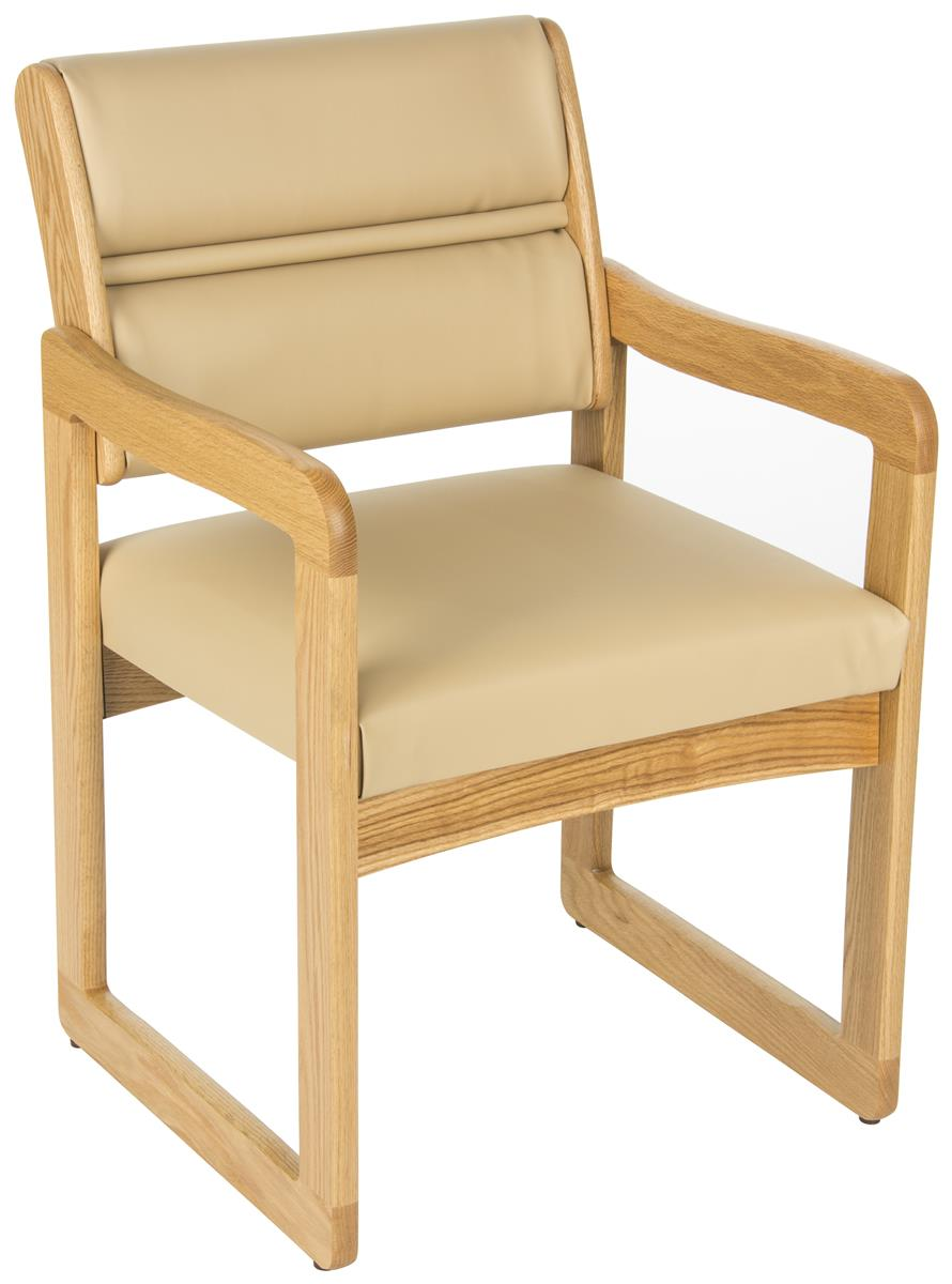 Cream Waiting Area Chair Vinyl Seat And Back