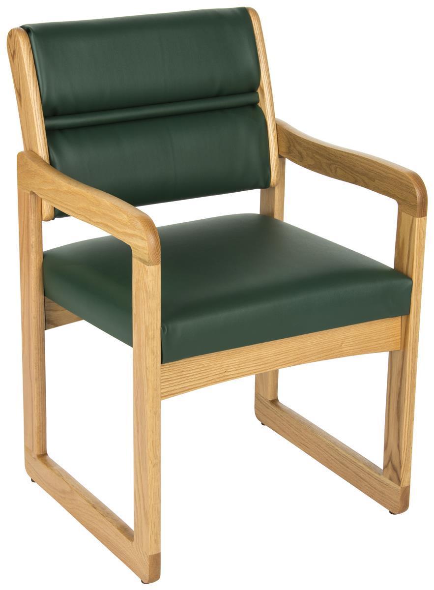 Green Reception Area Chair Light Oak Wooden Arms
