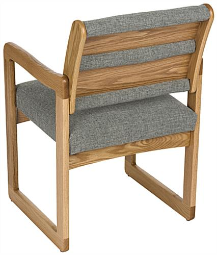 Grey Office Waiting Room Chair with Medium Oak Finish