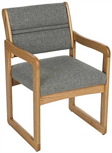 Grey Office Waiting Room Chair Medium Oak Wood Finish