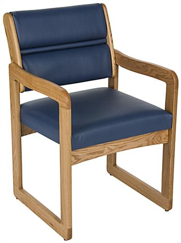 Blue Reception Room Chair, Oak Wood