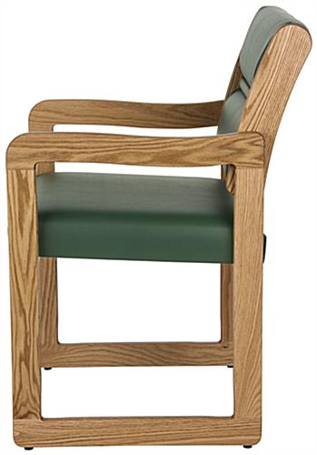 "Green Wooden Lobby Chair, 33.5"" Overall Height"
